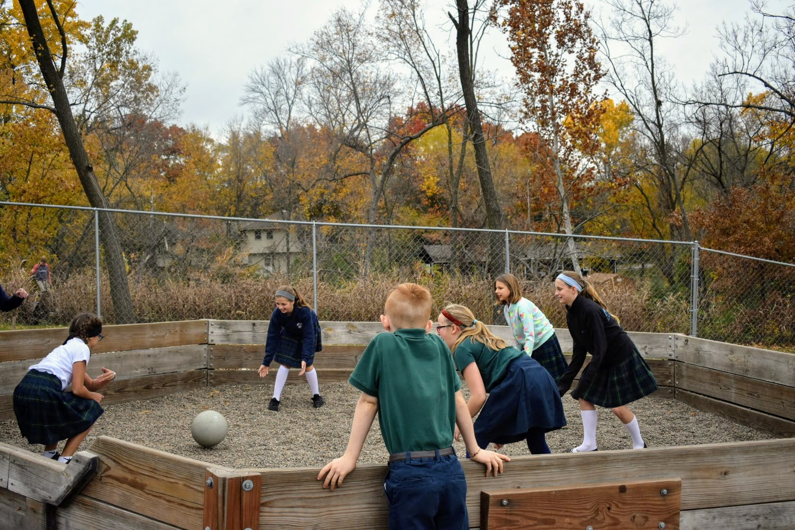 Whitefield Academy middle schoolers playing ga-ga ball at recess